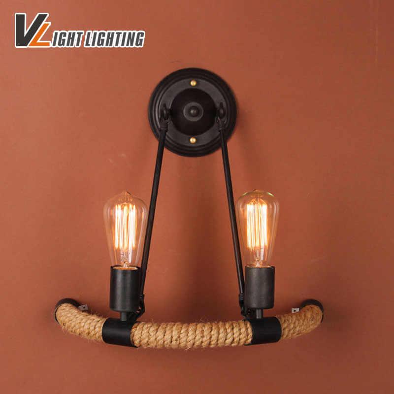 Новый Винтажный настенный светильник с веревкой Arandela Специальный железный светильник античный пеньковый Канат настенная лампа винтажный абажюр