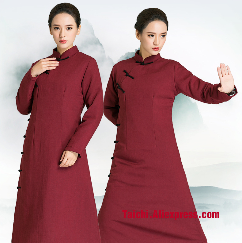 все цены на Winter Oblique Lapel Tai Chi Clothes Thicker Handmade Linen Tai Chi Uniform Wushu Kung Fu martial Art Suit онлайн