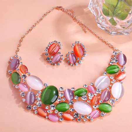 2015 New Arrival Luxurious Opals Oso Rhinestone Colar Necklace Earrings Joyas Jewelry Sets Brand Bijuteria Brincos