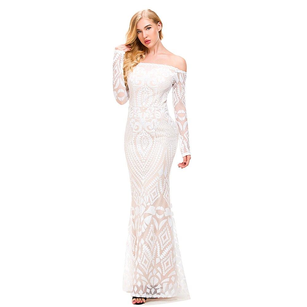 Sexy blanc pailleté géométrique épaule dénudée Maxi robe à manches longues étage longueur dos Zipper robe de soirée doublure moulante Club robe