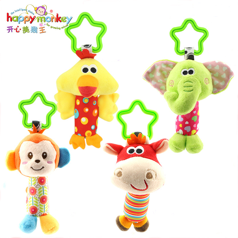Baby Animal Rattle Toys Soft Hand Bell Hanging Plush Crib Stroller Parm Rattles Infant Educational Toys For Newborns Gifts