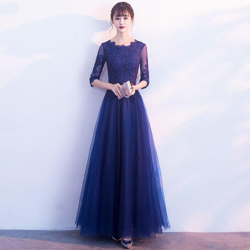092779e0449de 2019 new elegant ladies party dignified atmospheric banquet Lace Floral  Brief A-line dress