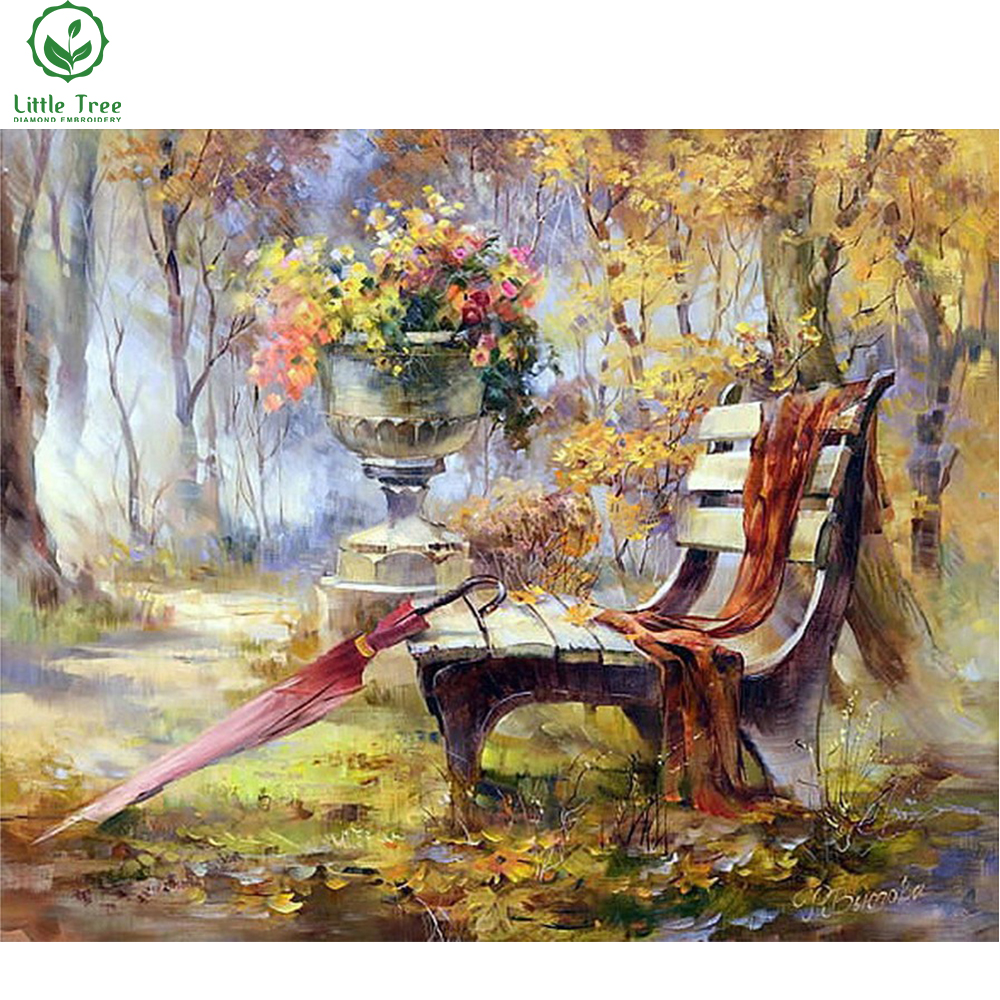 hobby sewing rhinestone handcraft diy diamond embroidery fall bench scenery crystal mosaic picture full gear diamond painting