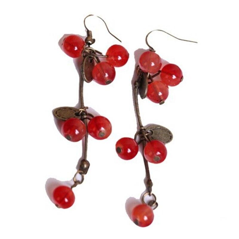 Модные ювелирные изделия для женщин Корейский Поп красная вишня милые серьги оптом простые и элегантные серьги