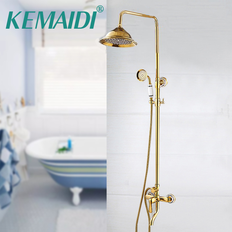 KEMAIDI Bathtub Rainfall Shower Head Gold Polished Wall Mounted 360 Degree Swivel Panel Mixer Taps Shower Faucets Set 8 led bathrome bathtub rainfall shower head polished wall mounted swivel mixer taps shower faucets set chrome finish