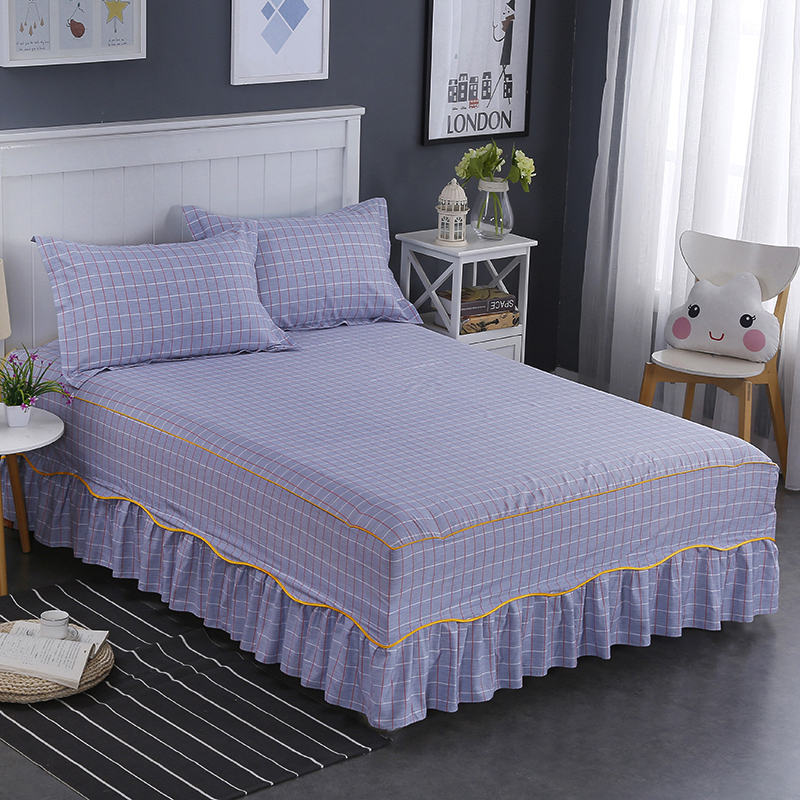 100 Cotton European Style Purple Lattice Pattern Bedding Bed Skirt Cover Bedspread Pastoral