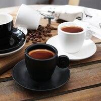 90cc Breve Bianco Nero Espresso In Ceramica Tazza di Caffè con Piattino Kit Cafe Dedicato Mini Bicchieri Casa Puro Latte Impugnatura Tazze