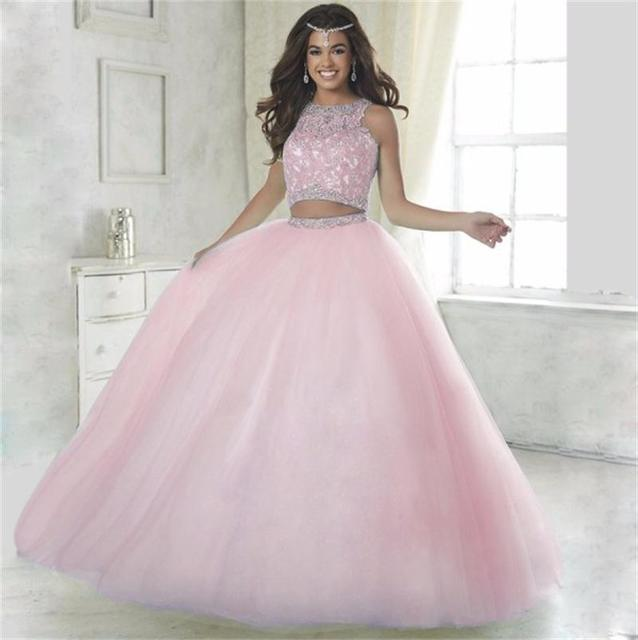 9f6b699a33d Setwell 2017 Charming 2 Pieces Quinceanera Dresses Off the Shoulder Crystal  Beaded Ball Gowns Sleeveless for Formal Party