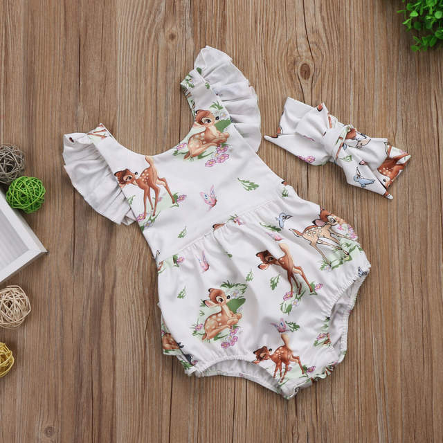 731a9ba7155 0-18M Toddler Infant Baby Girl Bambi Deer Flying Sleeveless Cute Bodysuit  Jumpsuit Sunsuit Clothes