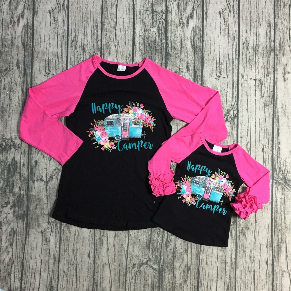 Children Fall/winter Baby Girls Mom And Me Raglans Children Girls Happy Camper Floral Top Raglans Clothing Girls Long Sleeve