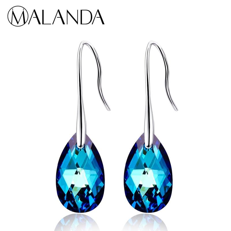 MALANDA Water Drop Earrings For Women Fashion Original Crystal From SWAROVSKI Silver Color Pendant Dangle earrings Jewelry Gift pair of graceful faux crystal rhinestoned water drop earrings for women