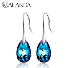 MALANDA Water Drop Earrings For Women Fashion Original Crystal From SWAROVSKI Silver Color Pendant Dangle earrings Jewelry Gift