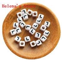 Black Single Letter L Printing White Cube Alphabet Acrylic Beads Wholesale 1800PCS Lot 7 7MM Plastic