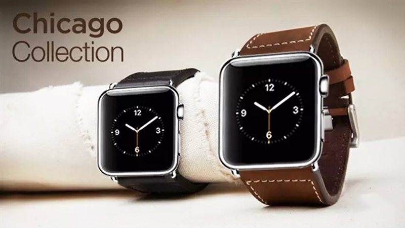 URVOI band for apple watch 1 2 3 4 strap wrist belt for iWatch Chicago collection genuine leather band stainless steel buckle