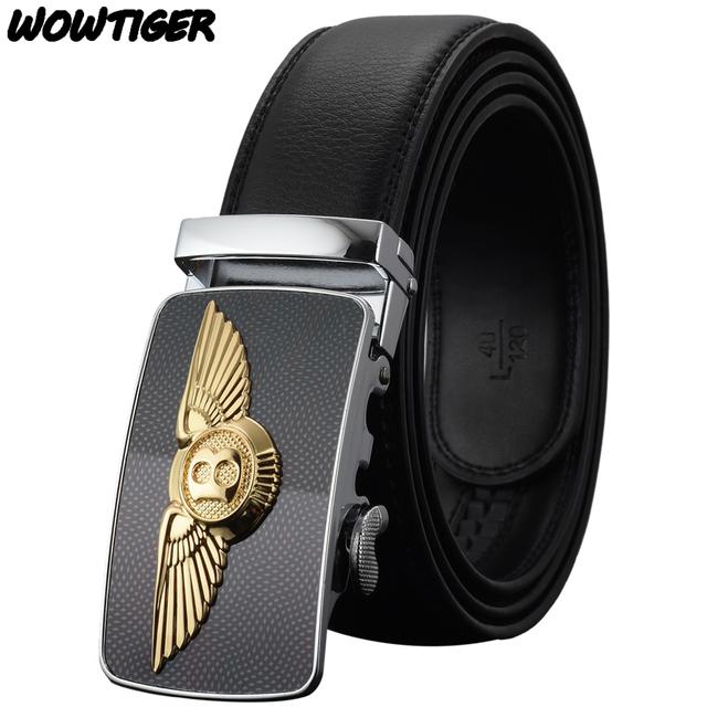 WOWTIGER Cinturón de Cuero Caliente de La Manera de Lujo del Diseñador Famoso Coche de la marca de los hombres de Alta calidad de la hebilla Automática Cinturones para hombres