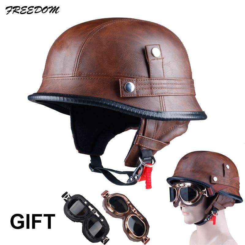 LDMET motorcycle helmet half face vespa helm moto harley vintage retro cascos para moto german solder