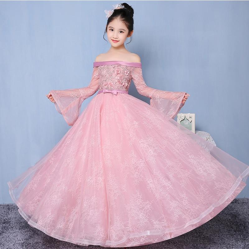Shoulderless Princess Girls Dress Pink Cute Children Costume Wedding Pageant Bridesmaid Gown Dresses First Communion Dresses D49