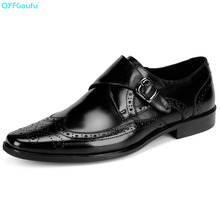 QYFCIOUFU New Brand Men's Dress Shoes Oxfords Buckle Genuine Leather Shoes High Quality Cow Leather Slip On Formal Brogue Shoes