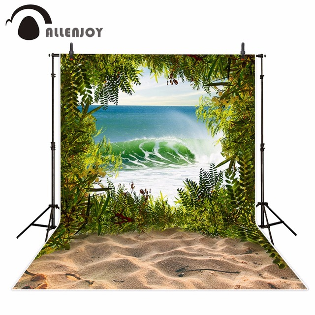 Allenjoy beach photography backdrop sea summer Tropical tree wave sky for photo studio Background photocall photobooth new