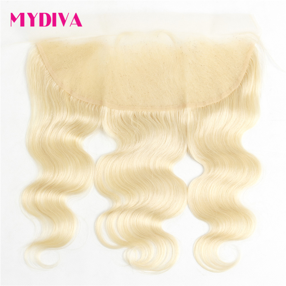 Malaysian Body Wave Lace Frontal Closure Transparent Lace 613 Blonde 13*4 Frontal Remy Ear To Ear Human Hair Lace Frontal Mydiva