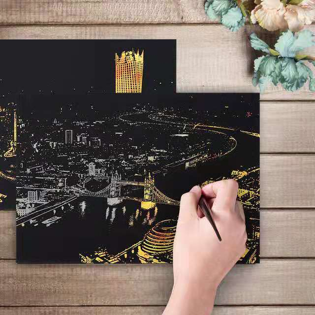 4pcs Art Painting Scratch, City Series Night Scene,Scratch Painting Creative Gift,Scratchboard for Adult and Kids
