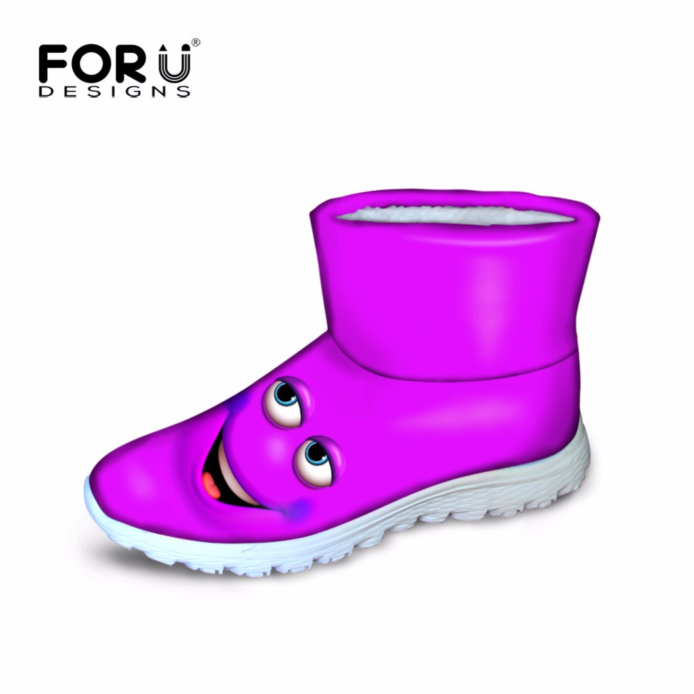 ФОТО FORUDESIGNS Women Winter Snow Boots Shoes Funny Emoji Pattern Ladies Flat Ankle Boot Anti-slip Breathable Feminine Zapatos Mujer