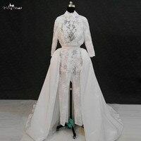 Rsw1139 реальные фотографии yiaibridal одежда с длинным рукавом Высокая декольте комбинезон спинки Свадебные платья Съемная юбка
