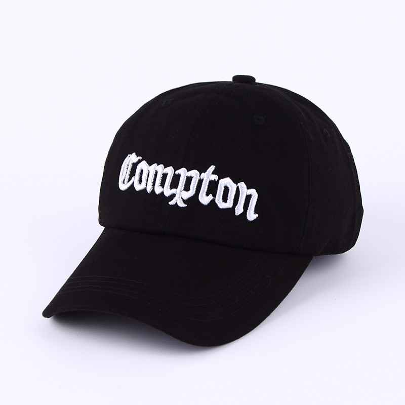 """Embroidered """"Compton"""" Adjustable Baseball Cap - Black Cap with White Lettering"""