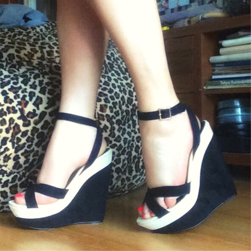 En Parte Hermosa Negro Zapatos Tamaño Envío Alto Las Sandalias Tejido Damas De Shofoo La Libre Tacón Inferior Cuñas Ante 45 34 Negro 5pqn0zpw