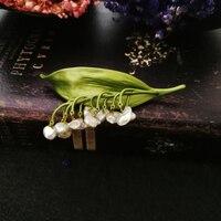 Vanssey خمر الأزياء زنبق زهرة نبات الباروك اللؤلؤ الطبيعي الأخضر بروش دبوس حزب اكسسوارات الزفاف للنساء