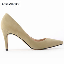 LOSLANDIFEN Classic Sexy Pointed Toe mid 8cm High Heels Women Pumps Shoes Faux Suede Spring Brand Wedding Pumps Big Size Escarpi