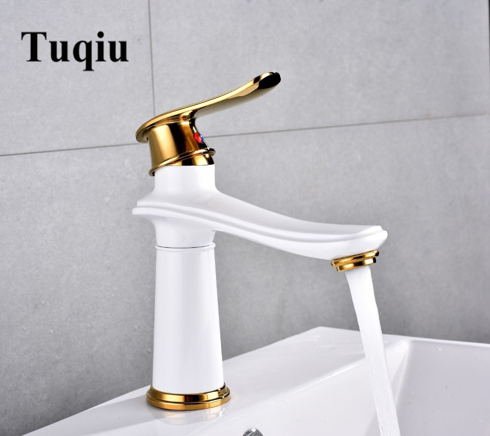 Bathroom lavatory water Faucet hot and cold Crane Brass sink mixer white and gold Sink Faucet Single Handle basin faucet free shipping bathroom faucet antique bronze finish brass basin sink faucet single handle mixer hot and cold lavatory water taps