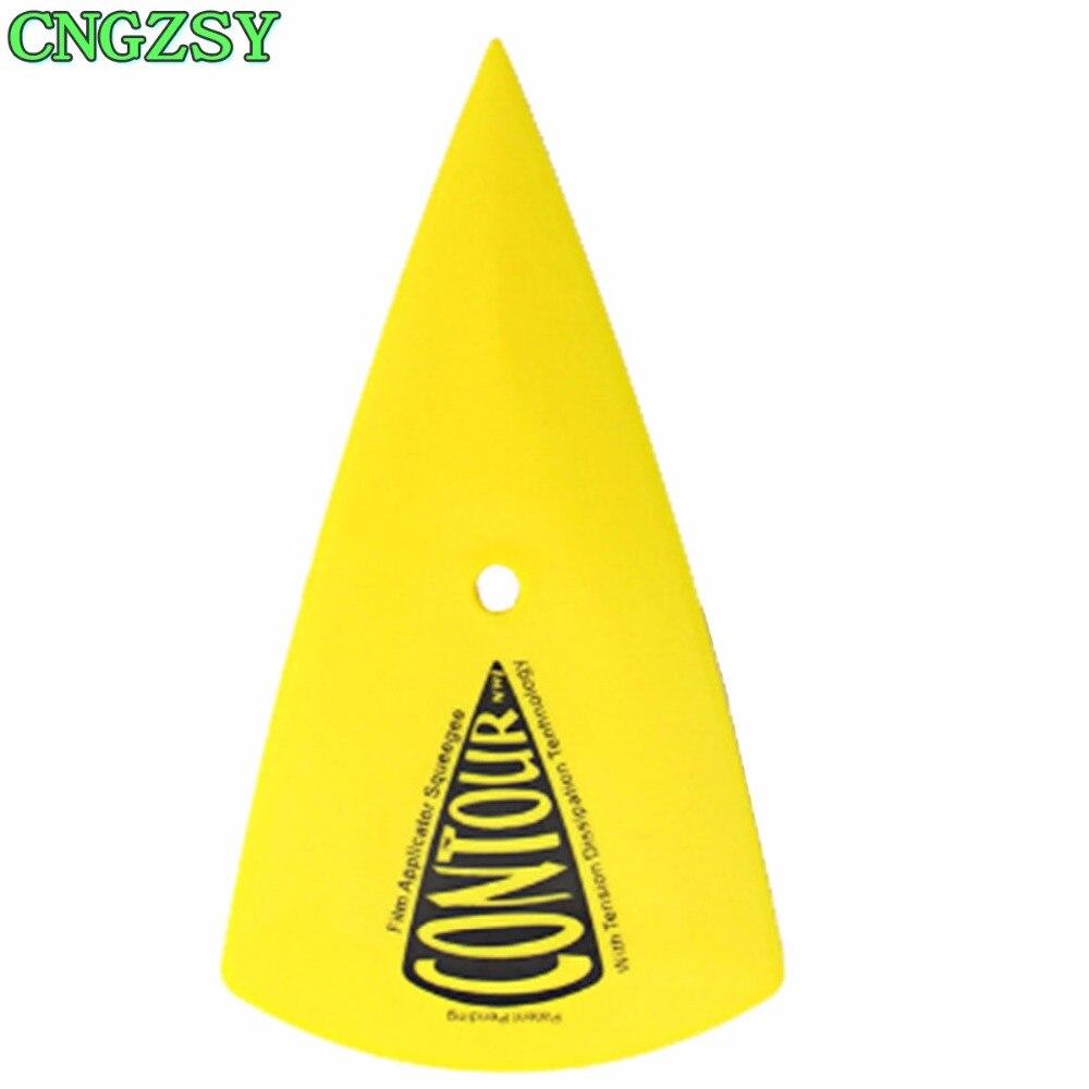 Plastic Yellow Car Film Tools Triangle Scraping Applicator Sharp Squeegee Bubble Scraper Contour Corner Hard Card Scraper A13