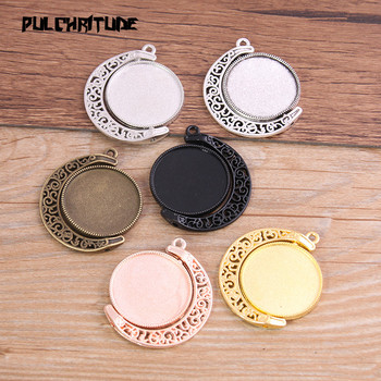 4pcs 25mm Inner Size 6 Color Moom Classic Style Double sided Rotate Cabochon Base Setting Pendant Charms juya jewelry making cabochon base 4pcs 25mm inner size diy charms necklace pendant cabochon matching glass supplies accessories