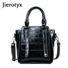 Jierotyx 2019 Women Hand Bags For Lady Party Fashion Crocodile Shoulder Bag Black Leather Gothic Messenger
