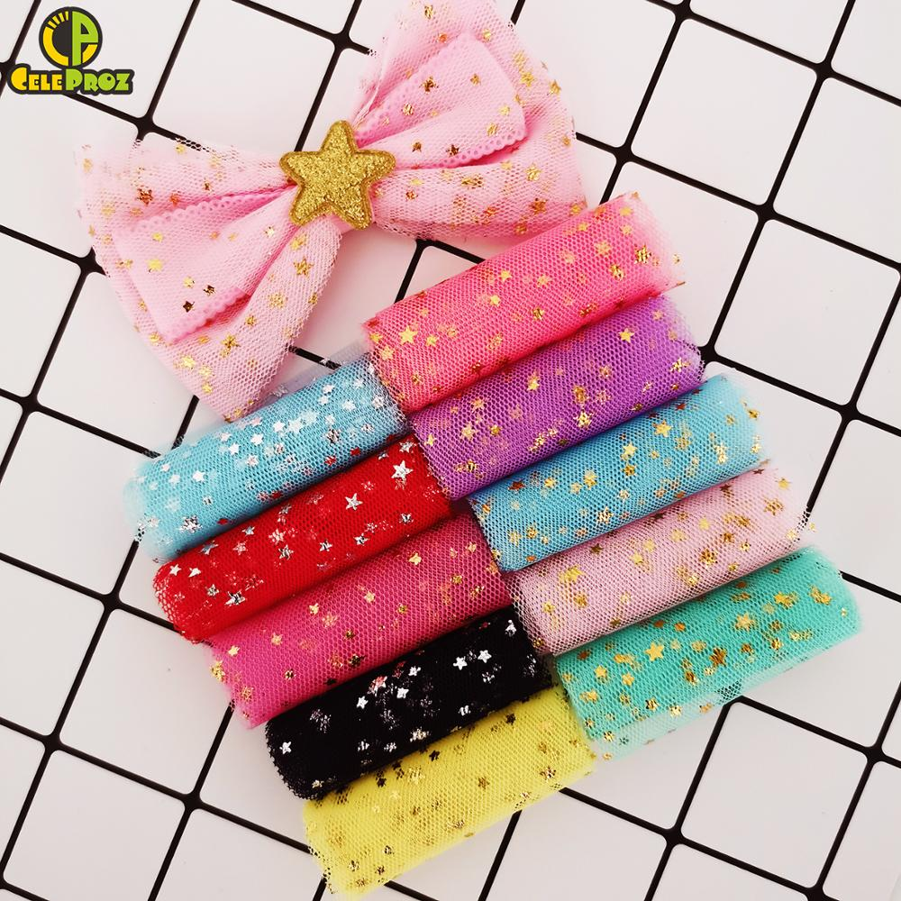 6cm 5Yards Star Tulle Confetti Sequin Ribbon Tape Soft Mesh Tulle Roll Baking Cake Topper DIY Crafts Sewing Accessories Supplies(China)