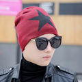 Autumn Winter Men's Soft Fleece Lined Thick Knit Skull Cap Hip Pop Star Pattern Warm Winter Daily Slouchy Beanies Hat For Men