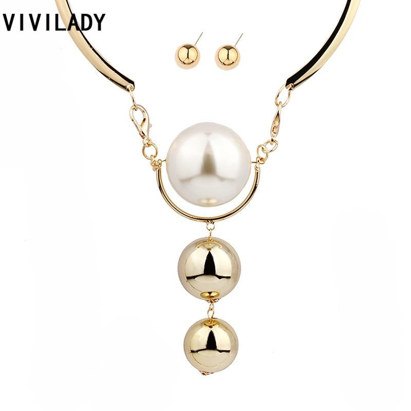 0c0640e47620 Vivilady imitación perla Juegos de joyería mujer declaración nupcial  Cuentas Collares pendiente oro color Boho africano madre regalo