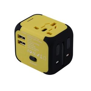 Image 4 - Spina elettrica adattatore per presa di corrente convertitore universale per caricabatterie da viaggio internazionale EU UK US AU con 2 LED di ricarica USB 2.4A