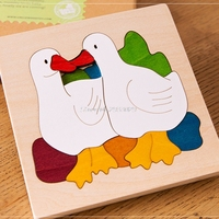 9Style Kids Children Educational Wooden Toys Multilayer Cartoon 3D Animal Puzzle Baby Gift One Piece B116