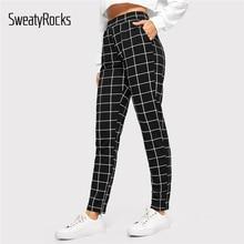 737423c239 SweatyRocks cintura elástica negra a rayas Pantalones de mujer Casual  pantalones largos otoño 2018