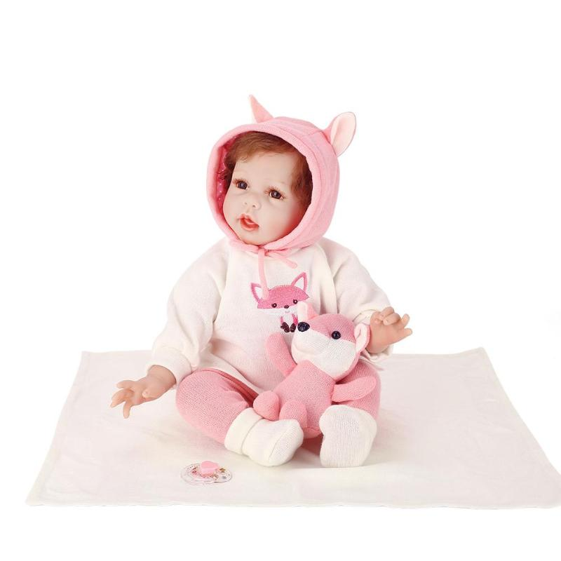 NPK Reborn Baby Doll Soft Silicone Simulation Toy Artificial Infant Girl Doll Toddler Kids Lifelike Reborn Toy with Clothing Set