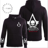 2016 Autumn Winter Assasins Creed Hoodie Men Black Cosplay Sweatshirt Costume Fleece Lined Assassins Creed Mens Hoodies Jackets