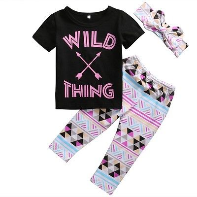 3pcs Toddler Kids Baby Girl WILD THING T-shirt Tops +Geometric Long Pants Headband Outfit Set Clothes wild thing