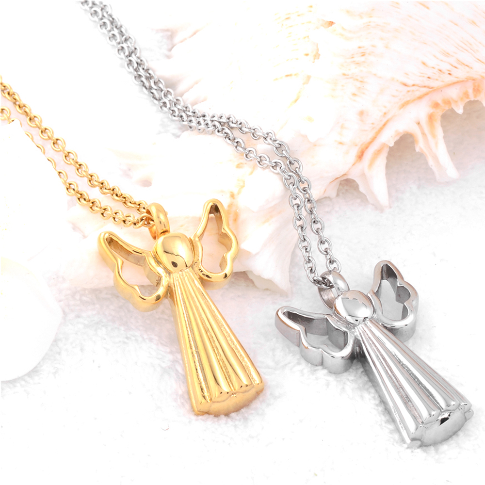 Angel Wing Urn Necklace: Angel Wings Cross Urn Necklace Memorial Jewelry Stainless