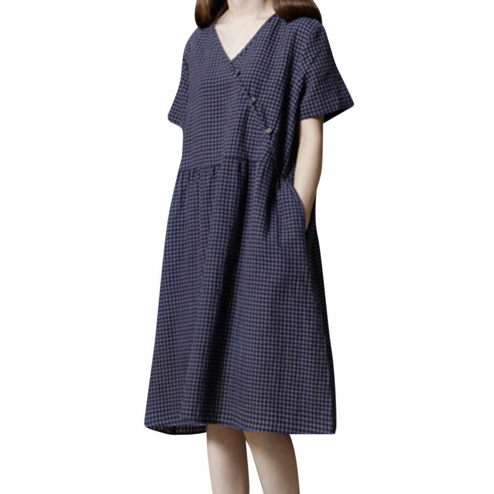 b331e93243f8 Sundress For Female Women Sundress Short Sleeve Plaid Pocket Cotton Linen  Loose Bohe Casual ladies Dresses
