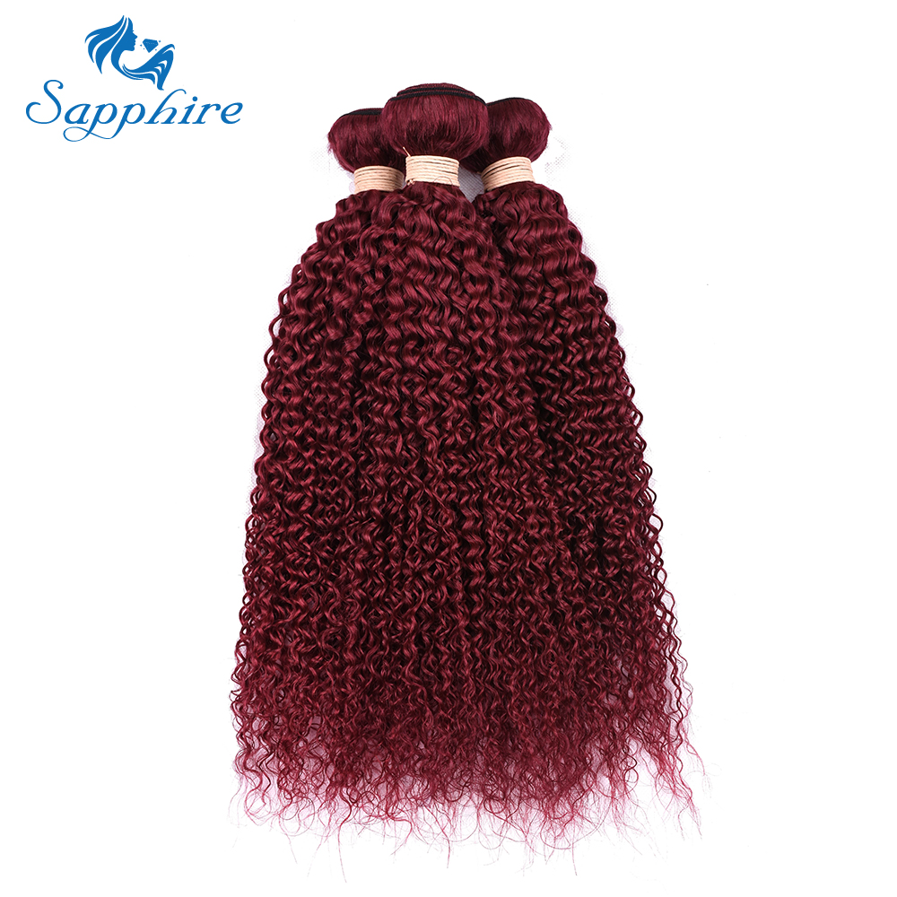 Sapphire Kinky Curly Malaysian Human Hair Bundles Pre-Colored Burg Color 100% Human Hair Bundle 3 PCS Weave Bundles 8-28inch