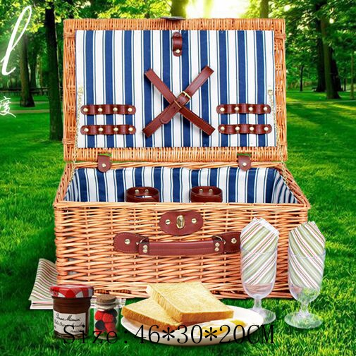 Wicker Basket Wicker Camping Picnic Basket Outdoor Willow Picnic Baskets Handmade Picnic Basket Set for 4Persons Picnic Party color picnic set