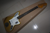 High quality New Arrival jazz Guitar JAGUAR white Pickguard Gold color Electric Guitar with hardcase