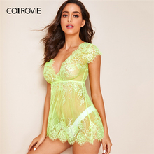 COLROVIE Neon Lime Floral Lace Dress With Thong Women V Neck Solid Sheer Babydolls 2019 Summer Sexy Night Dress
